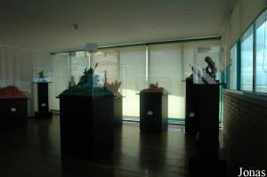 Exhibition of sea and man art made of burned soil handicraft